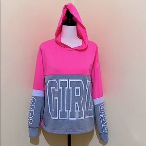 Hot Pink Hoodie BUZZ with GIRL print Juniors XL